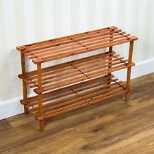 3 Tier Slated Shoe Rack Stand Unit Storage Shelf Walnut Wooden By Home Discount