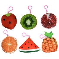 New Keychains w/Plush Fruit Charm Squishy Backpack Charms Kiwi Orange Strawberry