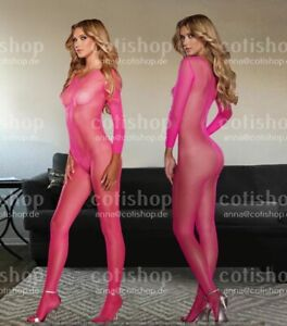 Bodystocking Dessous Sexy Overall Strumpfhose Bodysuit Catsuit Rosa 100