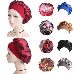 Women Satin Sleep Cap Hair Bonnet Hat Muslim Head Cover Wide Band Adjust Elastic