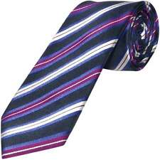 TiesRUs Navy and Purple Striped Hand Made Classic Men's Tie 100 % Pure Silk