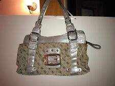 GUESS  purse shoulder bag Grey CANVAS  With Silver Hardware, PREOWNED VGUC