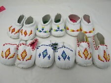 BABY MOCCASINS WITH BEAUTIFUL BEADWORK 4 INCHES FROM HEEL TO TOE, 2 INCHES WIDE