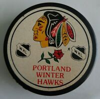 PORTLAND WINTER HAWKS VTG WHL - CHICAGO BLACKHAWKS LOGO GAME PUCK - CANADA + CZ