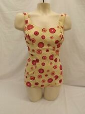 Vtg 50s 60s NEW Marina Del Mar Textured Artsy Dots One Pc Swimsuit 12/34 Pin-Up