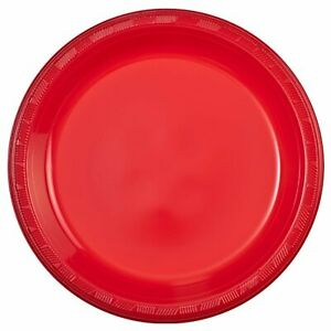 "Hanna K. Signature 10"" Plastic Plates Red for Dinner & Birthday Parties 50Ct"