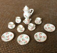 15 Dollhouse Miniature Porcelain Kitchen Dinnerware Coffee Tea pot Cup set 1:12