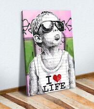 More details for banksy i love life boy canvas street wall art print artwork pink green
