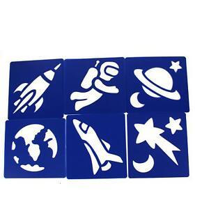 Plastic Star Rocket & Planets Art Stencils  Kids Space Galaxy Drawings  6