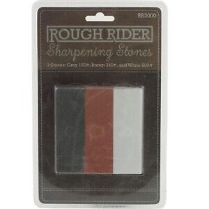 Rough Rider 3 Piece Knife Sharpening Stone Set Gray 120 Brown 240 White 800 Grit
