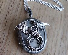 Steampunk Medaglione Foto Dragon CATENA Medioevo Gothic Locket PHOTO PHOTO emo