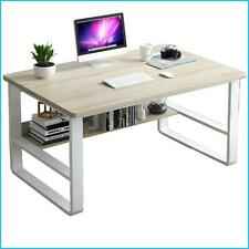 NEW! Standing Computer Desk Modern Design Writing Table with Storage Board Shelf