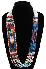 NE146526 Fine Art Glass Hand Beaded Medicine Wheel Feather Necklace Crystal Blue