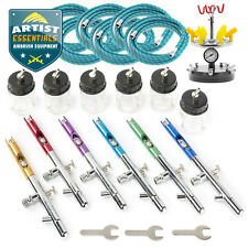 6 X Dual Action Airbrush Set with Case and Hoses Crafts Hobby Art