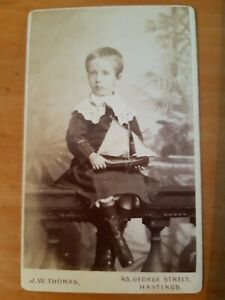 Victorian CDV Photo Child Boy or Girl in Lace + Toy Boat, Thomas of Hastings SS