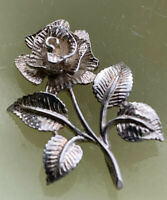Vintage Sterling Silver Pendant Rose Shape With Leaves