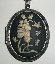 ANGEL CHILD FAIRY FAE w/ HUMMINGBIRD n BUTTERFLIES CAMEO LOCKET PENDANT NECKLACE