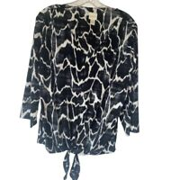 Chicos Womens Blouse Black Ikat 3/4 Sleeve V Neck Stretch Front Tie Knot L/12