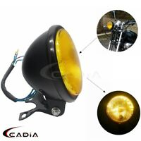 5'' Motorcycle Retro Headlight Head Lamp Amber For Harley Cafe Racer Honda CG125