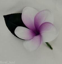 SILK WEDDING BOUQUET FLOWERS LATEX PURPLE WHITE FRANGIPANI GROOM BUTTON HOLE PIN