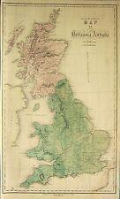 1850 LARGE HAND COLOURED MAP ~ BRITANNIA ANTIQUA BRIGANTE DEMETAE