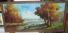 P.VEZUIZZA ITALIAN RIVER RANCH LANDSCAPE OIL ON CANVAS HUGE PAINTING