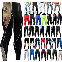 Men Gym Fitness Compression Slim Tight Base Layer Sports Leggings Pants Trousers