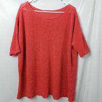 Eileen Fisher 100% Hemp Tunic Style Sweater Sz. Large Short Sleeve