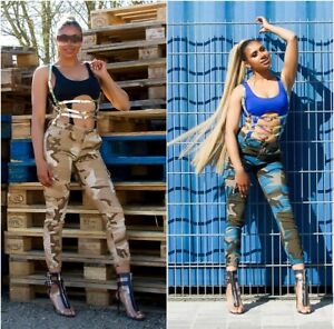 Jeans High Waist Ladies Skinny Camouflage Cargo Jeans Trousers