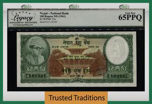 TT PK 15a 1961 NEPAL NATIONAL BANK 100 RUPEES LCG 65 PPQ GEM NEW FULLY ORIGINAL!