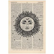 Celestial Sun and Moon Dictionary Print Vintage, , Art, Unique, Gift,