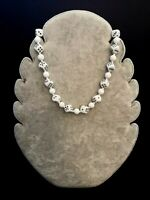 Rare Vintage Retro 1950s Milk Glass White Dice Bead Lucky Choker Necklace Kitsch