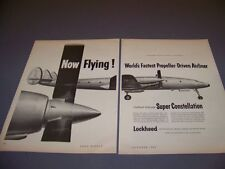 VINTAGE..1954 SUPER CONSTELLATION..2-PAGE ORIGINAL SALES AD...RARE! (316L)
