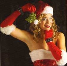 Red Sexy Long Miss Santa Gloves Womens Christmas Party Adult Costume Accesory
