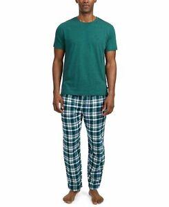$67 Nautica Mens Woven Pajama Flannel Set Pants Green Solid Sleepwear Size S