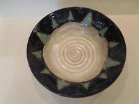 Signed Art Studio Pottery Blue Glazed Bowl Grey Swirl Center Green Trees