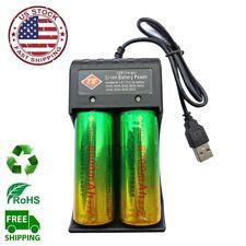 2Pcs Skywolfeye 26650 3.7V Li-Ion Rechargeable Battery + 2 Slots USB Charger USA