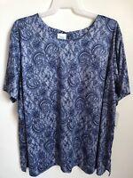 Only Necessities Plus Size Women's 5X Floral Blue Short Sleeve Top Shirt Blouse
