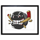 Painting Illustration Cartoon Ice Hockey Puck Angry Framed Print 9x7 Inch