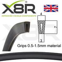 Small Black Rubber U Channel Edging Trim Seal 7mm - 3mm fits 0.5mm - 1.5mm