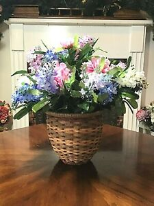 Artificial Silk Flower Arrangement Pink, White, Blue Lilacs, Peonies in Basket