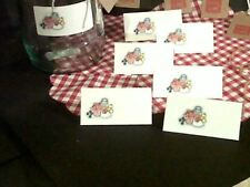 10 Jam Jar Covers. Red Gingham.  Complete Kit with made with love wooden Tags