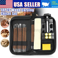 18PCS Wood Carving Tool Hand Chisel Seal Engraving Knive Woodcut Stone Cutter