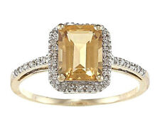 10k Yellow Gold Emerald-Cut Citrine and Diamond Ring (1/5 TDW)