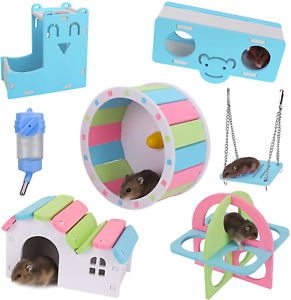 Kesoin Hamster Toys Wheel Cage Accessories for Dwarf Hamster Wooden House Hideou