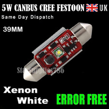 1x CANBUS FESTOON CREE BULBS 39MM LED WHITE 5W ERROR FREE NUMBER PLATE BULBS