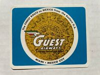 Vintage 1950's Aerovias Guest Airways Mexican Airlines Luggage / Baggage Label