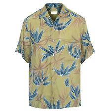 BRIONI mens casual short sleeve green button-front Hawaiian aloha shirt Medium