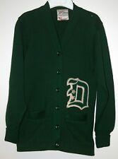 Vintage Varsity Men's Or Women's Letterman Sweater Green Letter D Mid Century