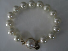 ***BNWOT MAJORICA ONE-ROW BRACELET WHITE PEARL MAN-MADE 100% AUTH***